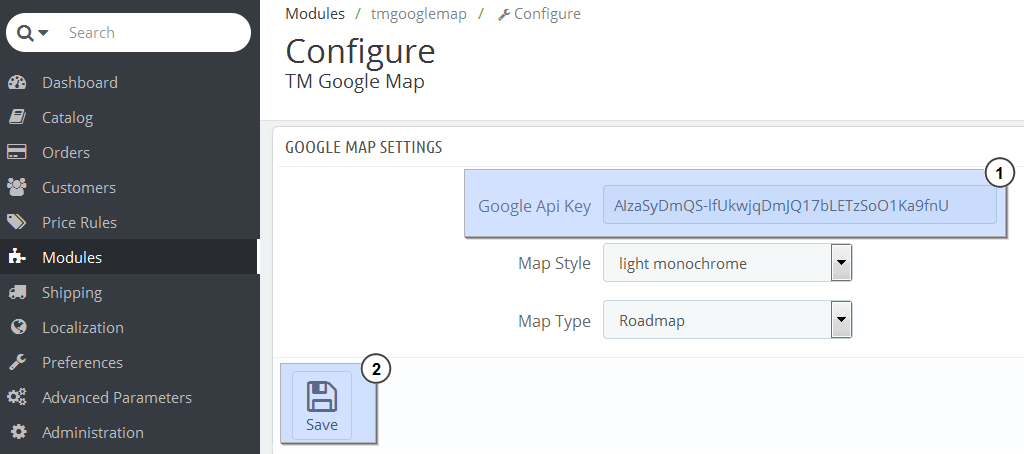PrestaShop 1 6 x Troubleshooter  Google Maps do not show up (API key