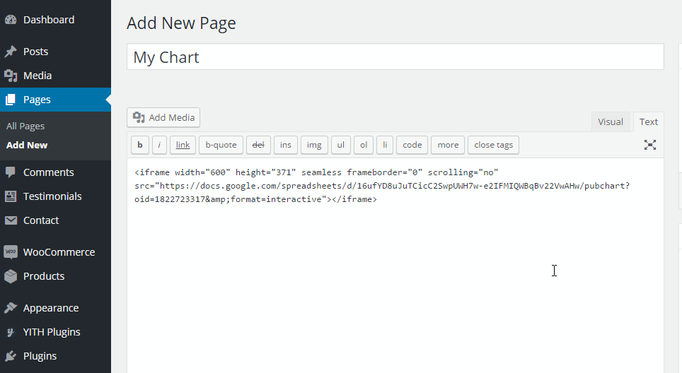 to embed google chart into a post page or widget template