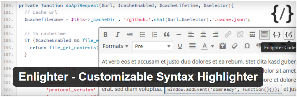 4. Enlighter - Customizable Syntax Highlighter