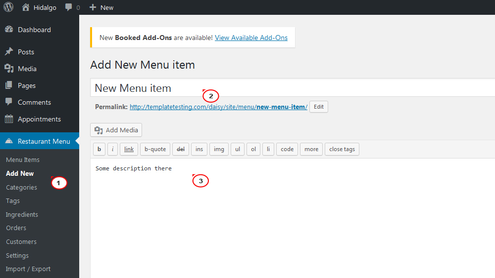How to work with Restaurant Menu module