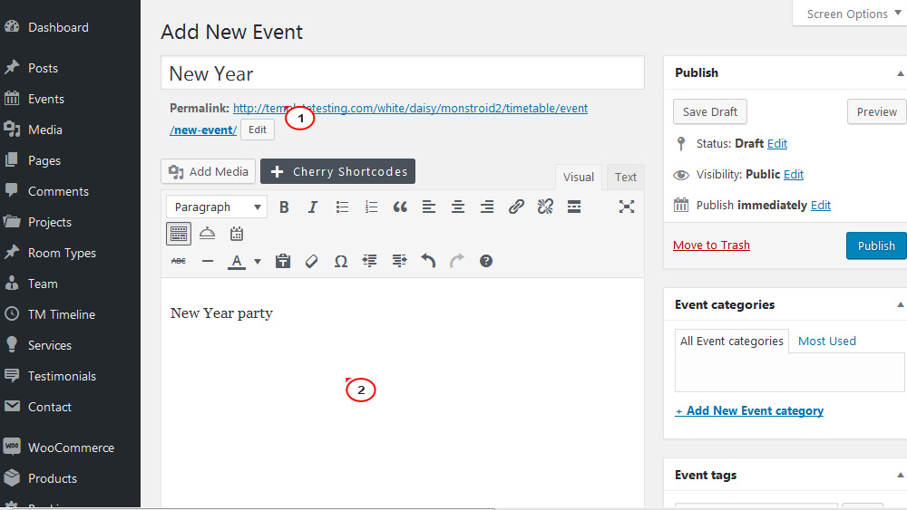 Monstroid2. How to manage events with the help of 'Timetable and Event Schedule' plugin1