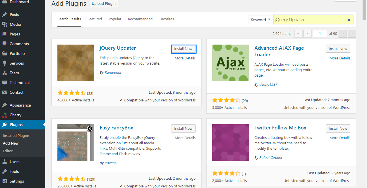 WordPress. How to update jQuery using jQuery Updater plugin2