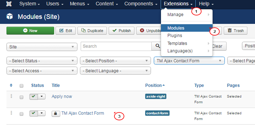 Joomla 3.x. How to manage TM Ajax Contact Form module_1
