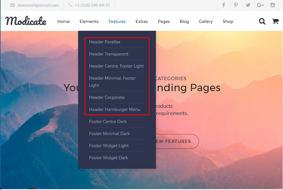 Multipurpose website templates how to manage header for Html header menu templates