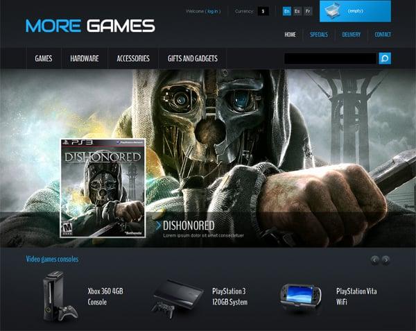 дизайн шаблона для игрового сайта