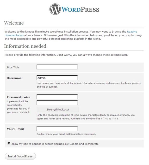 Запускаем скрипт установки WordPress.