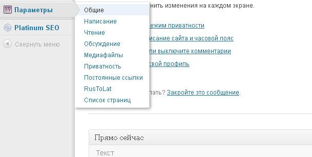 Меню, с помощью которого в дальнейшем будет осуществляться работа с сайтом, находится в левой колонке админки.